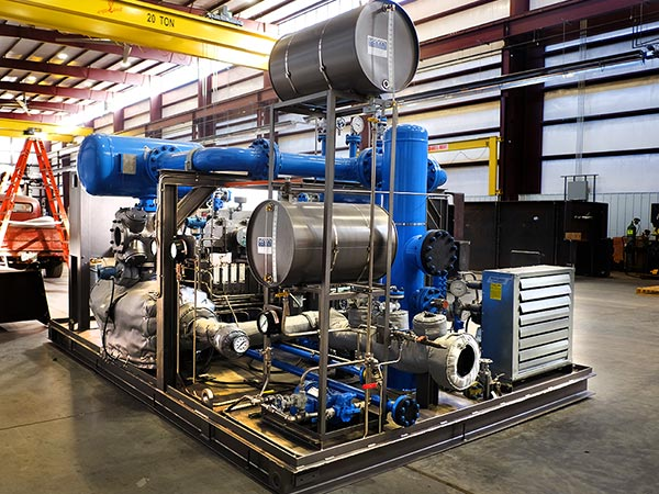 Gas Compressor System in the fabrication shop