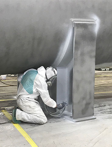 Painting an ASME vessel in the coatings shop