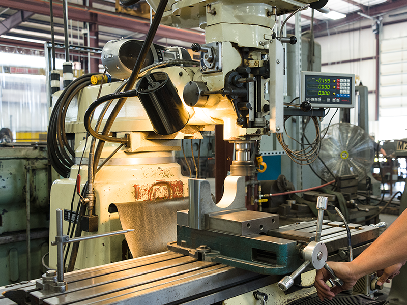 Milling machine in the machine shop