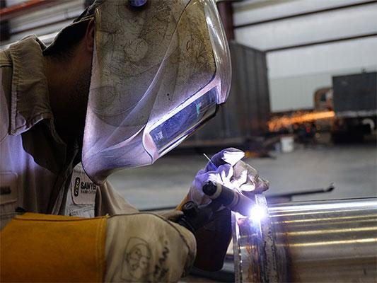 TIG welding a stainless steel vessel