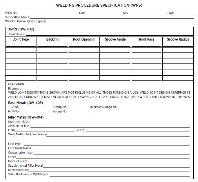 WPS - welding procedure specifications sheet
